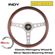 Momo indy-classic acajou 350MM en bois wood silver spoke volant