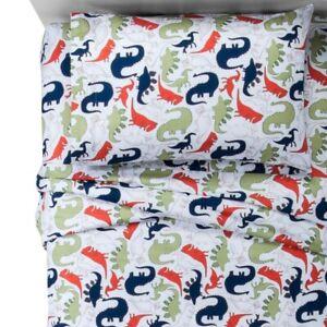 Pillowfort Dino Delight Dinosaurs Cotton Sheet Set Toddler Bed Size White Multi