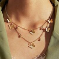 Gold Butterfly Double Layer Pendant Necklace Clavicle Chain Choker Women Fashion