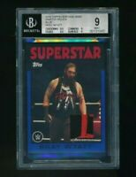 2016 Topps Heritage WWE Relic Blue 2 Color Bray Wyatt BGS 9 /25