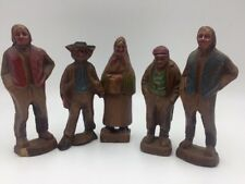 """Vintage Lot of 5 Syroco Wood Figures Old Men Old Woman 4.5"""" - 5"""""""