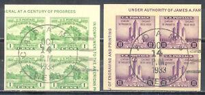 US Stamp (L229) Scott# 730a and 731a, Used HR, Nice 1933 Cancel, Corner Blocks