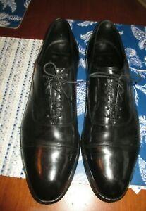 JOHNSTON & MURPHY men SZ 13 black leather CROWN ARISTOCRAFT cap toe oxford shoes