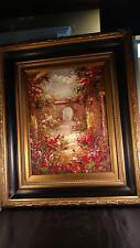 "Oil on Canvas Palette Knife Garden Path Ornate Frame 20"" x 24.25"""
