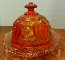 Vintage Amberina Glass Dome Lid Cheese / Butter Dish  Memphis pattern