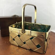 "Vtg Small Brass Woven Basket 4""x3.5"" Easter Decor Moveable Handle"