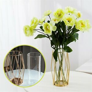Glass Flower Vase With Geometric Metal Stand Clear Terrariums Planter Bud Vase