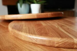 Rounded Table Top. Solid Oak, Iroko, Beech, Walnut. 70cm, 60cm, 50cm, 40cm, 30cm