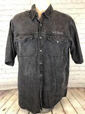Harley Davidson Mens Grey Denim Short Sleeve Button Down Shirt Size M Medium