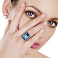 Neue Mystic Rainbow Topaz 925 Silber Ring Frauen Männer Hochzeit Engagement