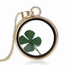 Real Green Cute Shamrock Four Leaf Clover Round Pendant Good Gift Necklace