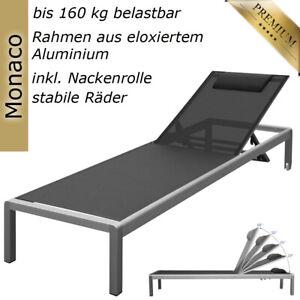 Aluminium Liege Alu Gartenliege Sonnenliege Liegestuhl Rollliege Schwarz