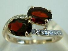 SWEET oro 9 carati garnets Crossover Anello con Diamante spalle-piccole dimensioni K