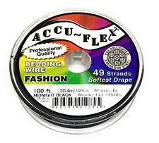 100' Accuflex black steel beading wire 49 strand .024 inch