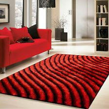 Red and Black 3D Large Rugs 200x290cm  LUXURY COLOURFUL THICK SILKY SOFT