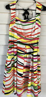 #24 David meister dress 8 MIDI A Line Multicolored striped sleeveless tie neck