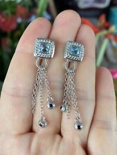 Judith Ripka Sterling Silver Blue Topaz Cz Dangle Earrings
