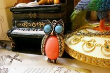 1Pc New Resin Gemstone Long Chain Necklace Pendants OWL Fashion Charm Jewellery