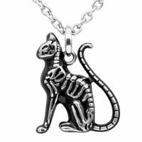 Mini Black Cat Skeleton Necklace Feral Bones Pendant Stainless Steel By Controse