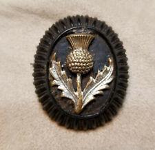 Antique Vintage Victorian BOG OAK Pin Brooch W/ Metal Thistle Rare