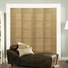 Vertical Blinds French Sandalwood Natural Woven Adjustable Sliding Panel Track