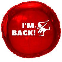 "Christmas Elf I'm Back 18"" Metallic Red Foil Balloon Elf on the Shelf"