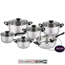 12Pc Stainless Steel Induction Hob Casserole Saucepan Stock Pot Fry Pan Cookware