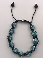 10mm Shamballa Beaded Adjustable Bracelet Genuine Baby Blue  Hand Set Crystals