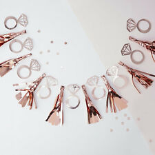 TEAM BRIDE TASSEL HEN PARTY BANNER Rose Gold Hen Party Garland Tassel and Rings