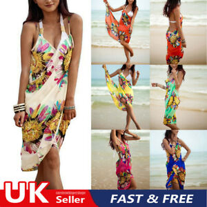Women Swimwear Summer Beach Wear Bikini Bathing Cover Up Sarong Pareo Dress UK