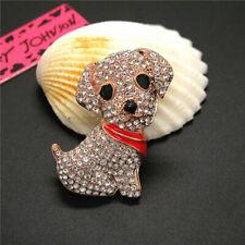 Puppy Dog Charm Retro Brooch Pin New Betsey Johnson Shiny Crystal Cute Scarf