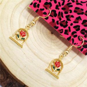 Hot Red Enamel Cute Rose Bird Cage Betsey Johnson Women Stand Earrings