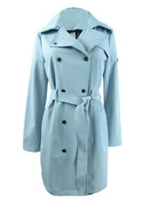 Calvin Klein Women's Hooded Double-Breasted Water-Resistant Trench Coat(XL,Blue)