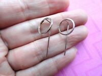 Open circle pin threader earrings