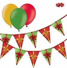 Christmas Bundle Gift Box Mixed Bunting Banner 15 flags & 8 Asst latex balloons