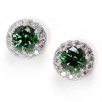 16ct Round Green Zircon CZ Gemstones 925 Sterling Silver Jewelry Stud Earrings