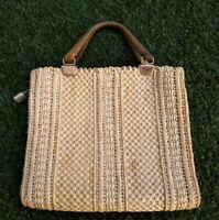Jordan Marsh Vintage Flat Large Straw Basket Weave Wooden Handled Bag Handbag