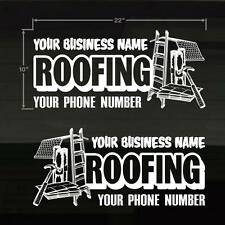 "Roofing Roofer Set of 2 YOUR TEXT Door/Window LG 22X10"" WHITE Decal Stickers"