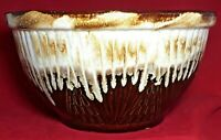 "Vintage Roseville OH Planter Bowl Brown Drip Glaze 9 1/2"" R.R.P. Co Marked RARE"
