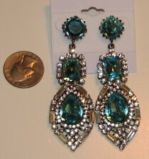 DESIGNER STYLE~SILVER~BLUE & WHITE RHINESTONE CRYSTAL CHANDELIER EARRINGS