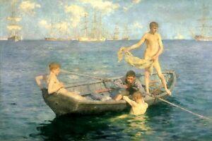 HENRY SCOTT TUKE Gay Artist Art Print AUGUST BLUE Nude Men Males Sunbathing Swim