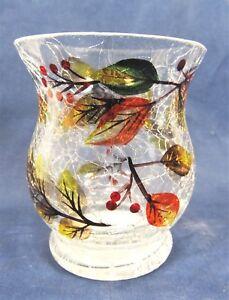 Harvest Leaves Crackle Glass Hurricane Votive Holder Fall Home Decor Sm.
