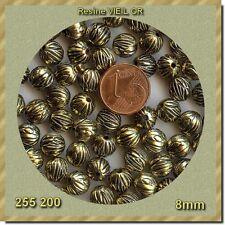 255200*** 15 perles résine striées VIEIL OR 8mm