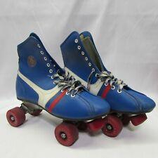 """Vintage Official Roller Derby Roller Skates Blue Red White Size?? 11"""" Long"""