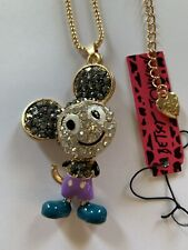 Betsey Johnson PURPLE Mickey Mouse BLACK SHOES movable parts necklace-BJ59411