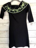 BCBG Maxazria BLACK & GREEN Floral Cowl Neck Bodycon Ribbed Dress Sz M