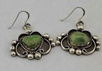 Vintage Sterling Silver ROYSTON? Green TURQUOISE Concho Bead Pierced Earrings