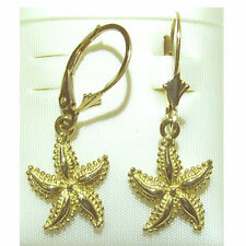 "14K Yellow Gold Star Fish Lever Back Earring. New Length: 1 1/4"" E2381-16"
