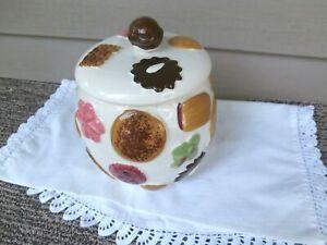 NAPCO Japan Vintage Cookie Jar Embossed Colorful Cookies All Over