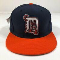Vintage Detroit Tigers 6 5/8 Fitted Hat Cap Blue Orange Tiger D Logo New Era USA